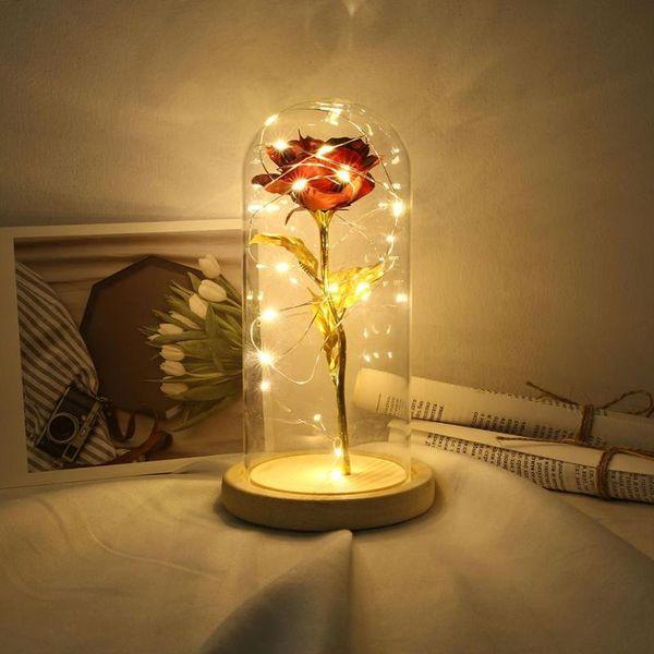 LED de belleza Rose y bestia con pilas ligera de la secuencia flor roja lámpara de escritorio romántico día de San Valentín de cumpleaños regalo de la decoración
