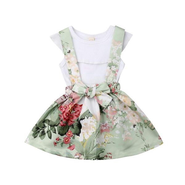 2019 Sommer Kleinkind Kinder Mädchen Kleid Kleidung Ärmelloses Weißes T-shirt Blumen Hosenträger Rock Kleid 2 STÜCKE Mädchen Kleidung Set