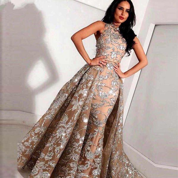 African Muslim Evening Dresses 2019 Mermaid High Collar Lace Plus Size Islamic Dubai Saudi Arabic Long Formal Evening Gown