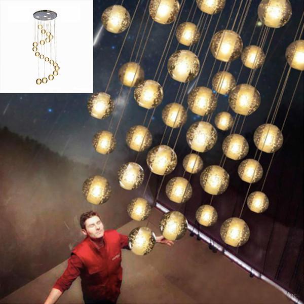 LED Crystal Glass Ball Pendant Meteor Rain Ceiling Light Meteoric Shower Stair Bar Droplight Chandelier Lighting AC 85-240V