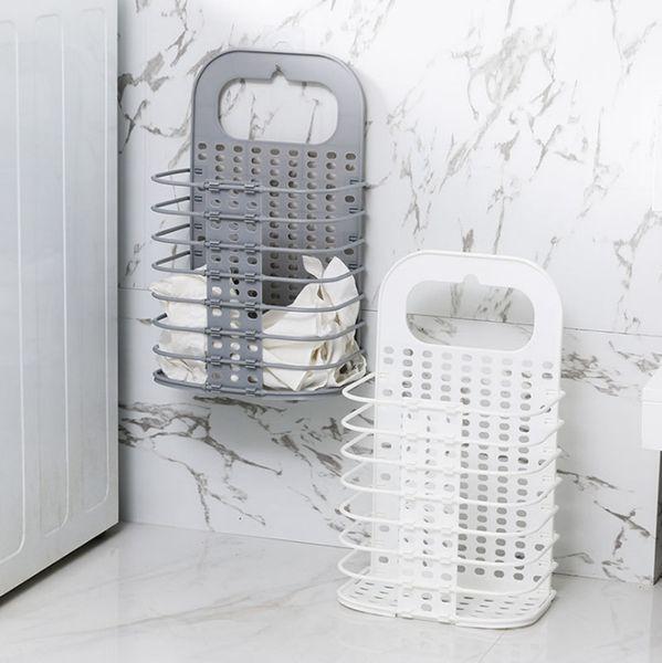 Cestas de lavandería Montados en la pared Bolsas de lavandería Juguetes plegables Caja de almacenamiento Ropa sucia Organizador Bolsas de lavado Blanco gris opcional YW3079