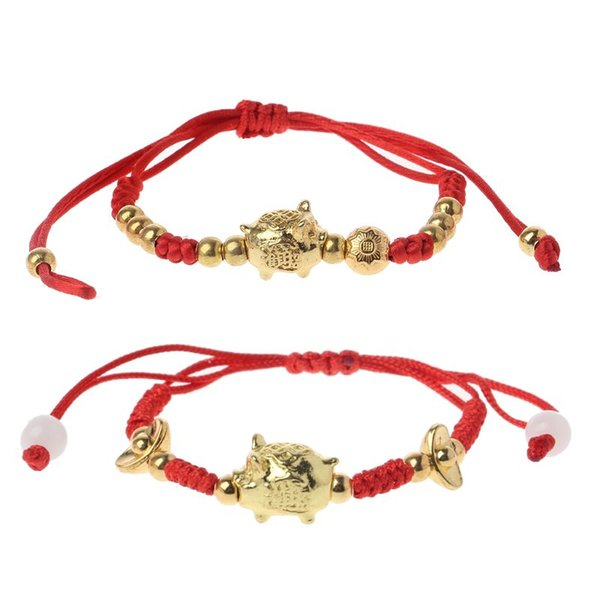 Chinese Feng Shui Golden Pig Lucky Kabbalah Red String Braided Bracelets Jewelry Making Hand rope