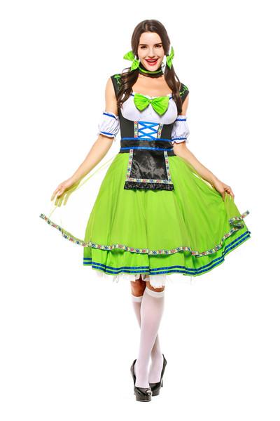 Carnaval Européenne Traditionnelle Bière Fille De Déguisement Femmes Allemandes Oktoberfest Uniforme Genou Longueur Vert Original Bavarois Cosplay Costume