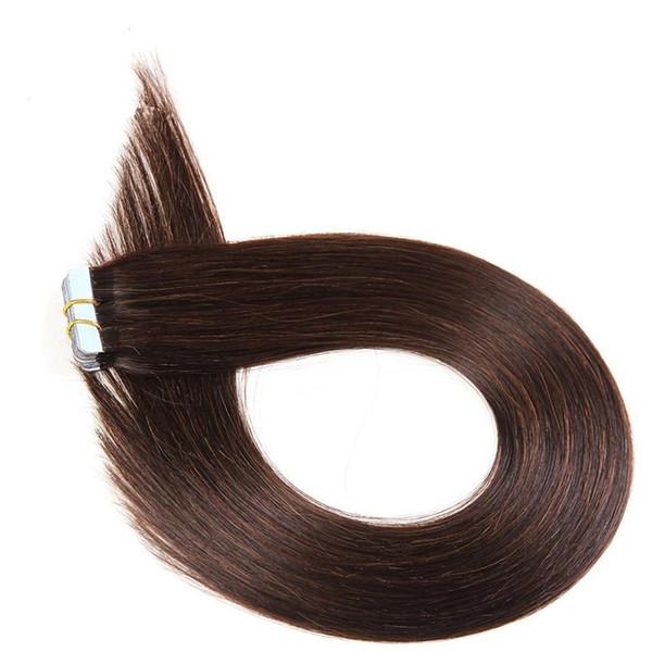 VMAE 40 pcs set 100% Human Hair 22 24 inch Dark Brown 2 Tape In Human Hair Extension Double Drawn Skin Weft Brazilian Straight Hair