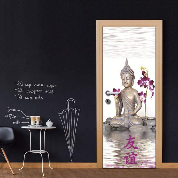 3D Vinyl Door Mural Posters Buddha With Orchid Wall Sticker Decal Art Decor Removable Mural Cheap Door Wallpaper