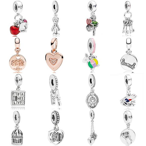 Regalo della collana di 2018 chiave NUOVO argento 925 pandora Biancaneve di Apple cuore ciondola monili di fascino Red CZ DIY bracciale originale