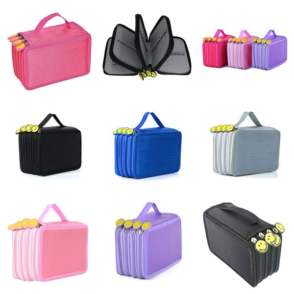 Große Kapazitäts-4 Schicht Kawaii Leinwand Buntstift Taschen Tragbarer Aquarell-Verpackungs-Bleistift-Kasten Supplies Art Students