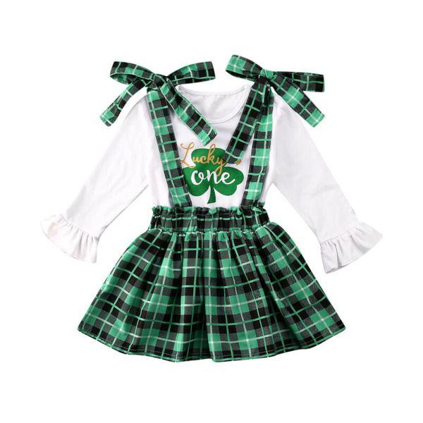 Kids Girl Flare Long Sleeve Top Plaid Skirt Dress Summer Cotton Clothes Set 1-6T