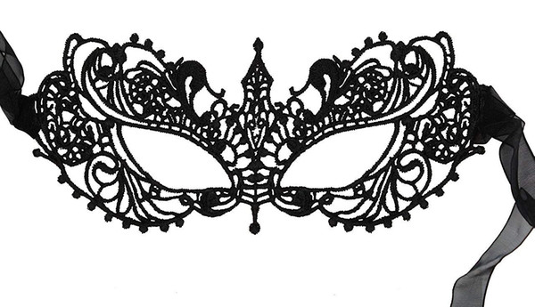 Black Lace Venetian Masquerade Mask Sexy Woman Mask for Halloween Costume Party Ball, Mardi Gras or Prom Dress by CSPRING