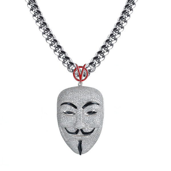 Mode Hiphop Film V-Vendetta Anhänger Halskette Gepflasterte Zirkonia Große Maske Charme mit Kette Hipster Kupfer Schmuck für Männer