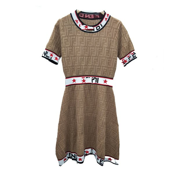 High-end custom 2019 summer fashion English letters hollow round neck short-sleeved knit dress Slim thin section