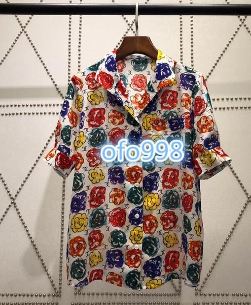 Kadın kızlar Kısa kollu T Gömlek yaka düğmesi ile Çiçek desenli mektubu baskı kadın Eğlence Kısa kollu ile tee tops