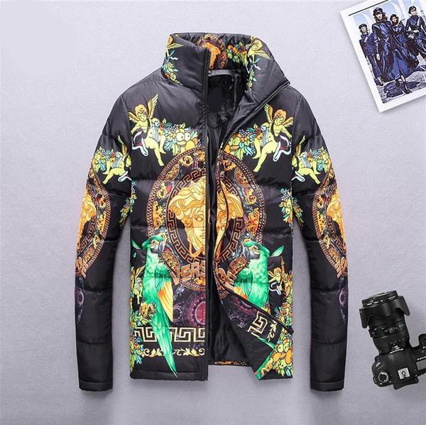 2019 Winter Mens Designer Jackets Pattern Print Thick Warm Men Stand Collar Casual Cotton Coat Zipper Fashion Down Jacket Asian Size M-3XL
