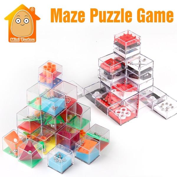 Çocuklar Eğitici Oyuncaklar 3D Bulmaca Labirent Ile Boncuk IQ Oyunu Yetişkinler Için Küp Biliş Bulmaca Kutusu Enfant Öğrenme Oyuncak El Oyunları SH190909