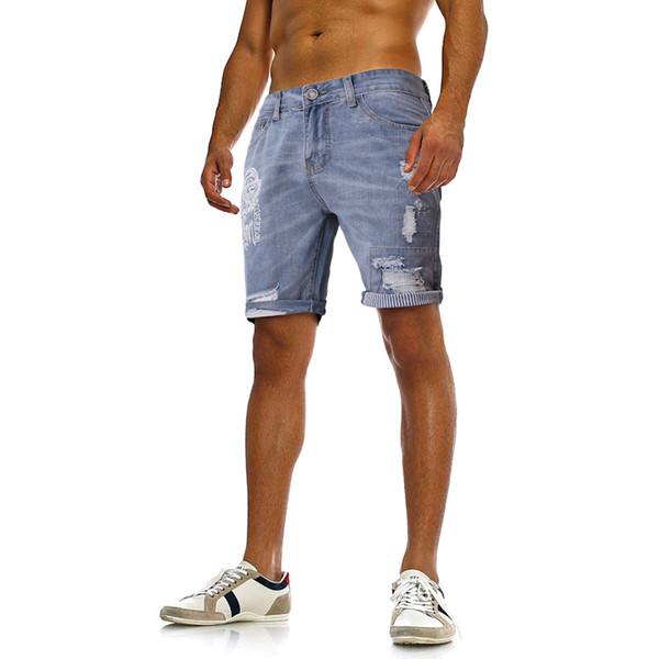 Yaz Erkekler Yıkanmış Kısa Kot Moda Diz Boyu Tasarımcı Delik Baskılı Jean Pantolon Erkek Gevşek Kot Şort