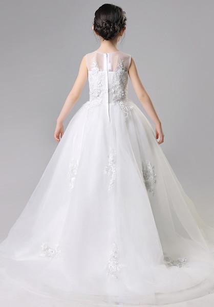 Helle Silber Rosa Weiß Applique Mädchen Festzug Kleider Blume Mädchen Kleider Prinzessin Party Kleider Kind Rock Maßgeschneiderte 2-14 H313300