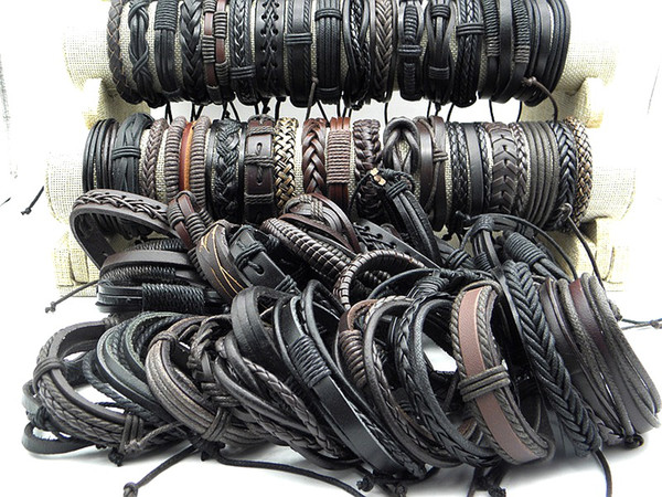 best selling Brand NewTrendy hand woven Leather Braided Hemp Bracelets Unisex Leather Wristband Bracelet Jewelry Factory Price Wholesale Promotion Gifts