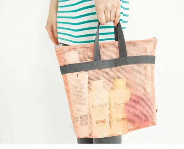 50 unids playa bolsa de malla bolsa de almacenamiento Shell bolsa correas ajustables Tote juguete de malla bolso al aire libre