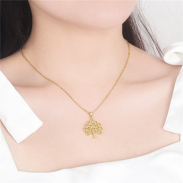 Vietnam Sand Golden Copper Plated Fashion Clover Pendant Necklace Simulation Gold Thick Gold Men's Lace Dragon Tag Plated 24k Gold Necklace