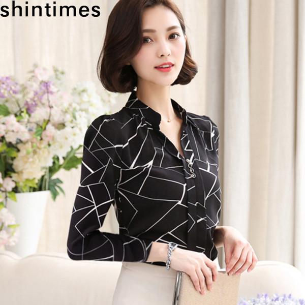 e8eabefa964ecb Women Chiffon Shirt Korean Version 2019 Female Clothing Long Sleeve Blusas  Chiffon Womens Office Blouses Print