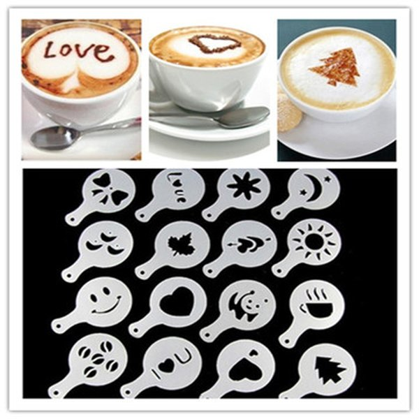 16 Piece Coffee Mold Filter Coffee Machine Cappuccino Mold Template Sprinkle Flower Pot Spray Art Baking Tools