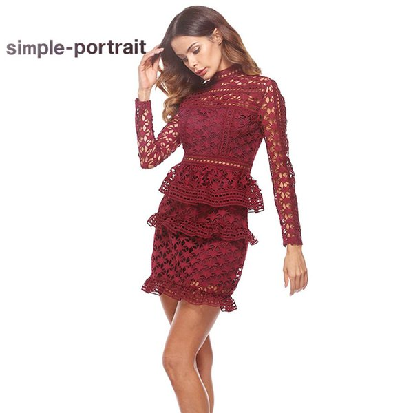 SP Simplee Self Portrait Vintage Hollow Out Women Lace Dress Elegant Long Sleeve Dourble Ruffles Cake Layer Sexy Party Dresses