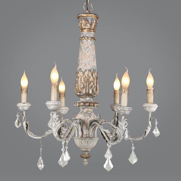 Shabby Chic Wooden Candle Chandelier Vintage Crystal Bois Lustre Ceiling  Chandelier Lighting Living Room Kitchen Light Fixtures Hanging Lights That  ...
