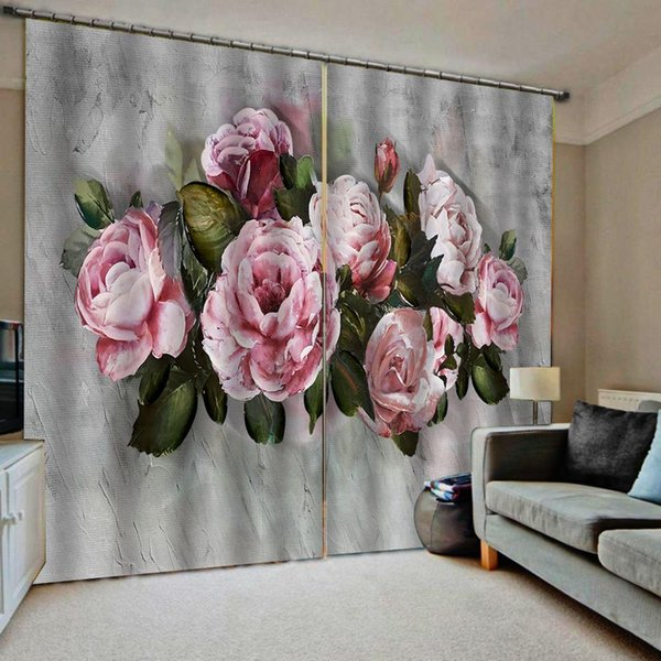 Grey curtains pink flower curtain Drapes Living room Bedroom Decor 2 Panels HooksWindow Curtains Blackout curtain