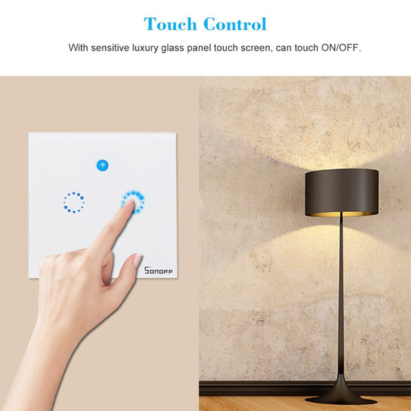 Smart Wifi Touch Wall Switch EU/US Plug RF/APP Wireless Remote Control Light Switches Sonoff T1 1/2 /3 Gang Glass Panel Controller