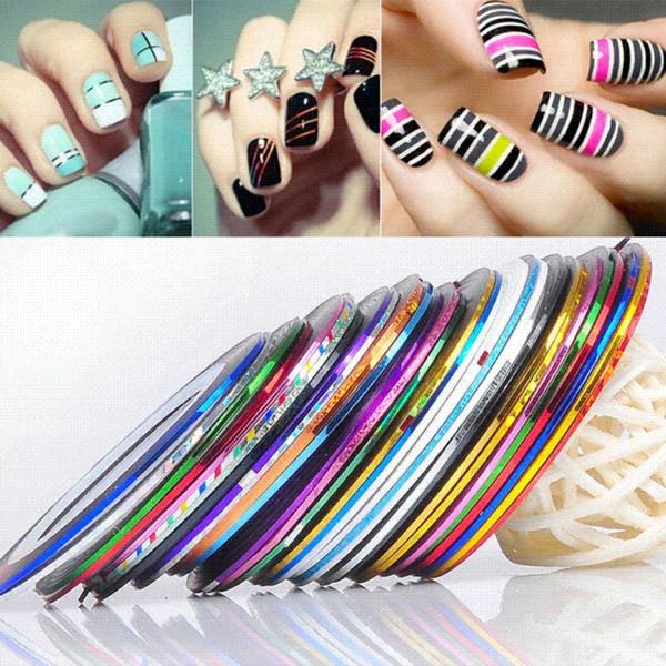 30 Unids Mezclado Colorido Uñas Belleza Rollos Rayas Calcomanías Foil Consejos Cinta Línea DIY Diseño Nail Art Stickers uñas Herramientas Decoraciones