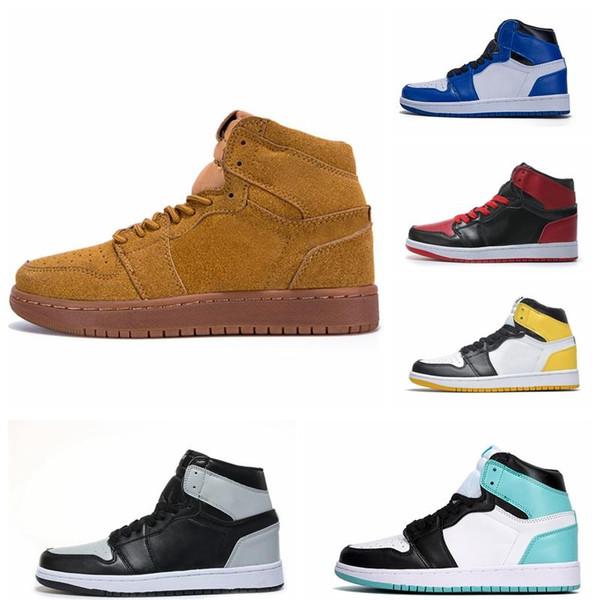 NOUVEAU 1 Clown haut bleu chaussures de basket-ball blanc 1s Hommage à Chicago Accueil INTERDITS Bred luxe royal de mode sandales mens concepteur femmes chaussures