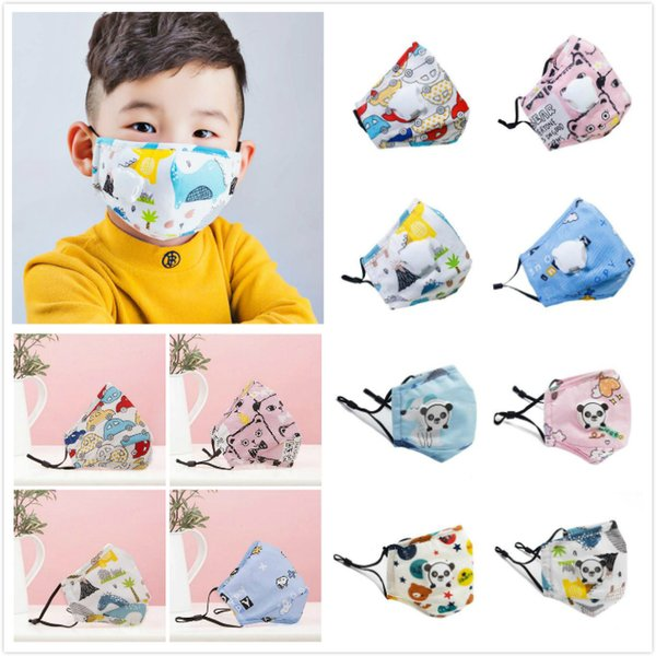 top popular IN STOCK!Cartoon Kids Mask children Colorful Face Masks Active Carbon Filter Breather Valve PM2.5 Anti Haze Dustproof Protec Face Shields 2021