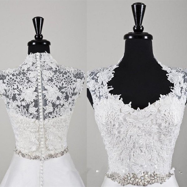 New Handmade High Neck Short Sleeve Buttons Lace Appliques Wedding Bridal Bolero Jacket Shawl White Ivory Custom Made Jackets
