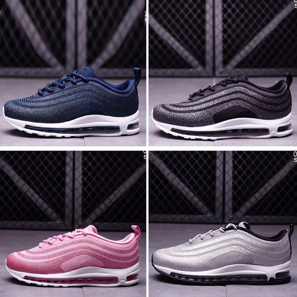 Großhandel Nike Air Max 97 Beste Qualität Kinder 97 OG Tripel Weiß Metallic Gold Silber Kugel Rabatt Kinder 97 Premium Große Jungen Mädchen Laufschuhe