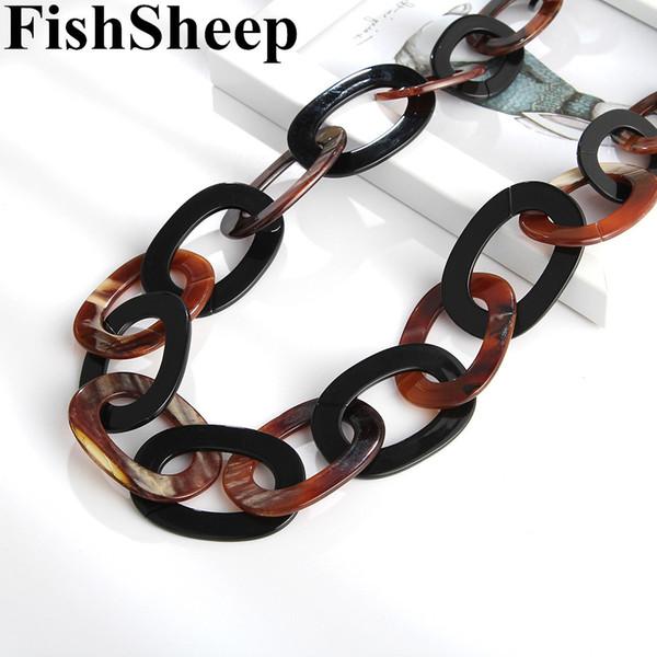 FishSheep Moda 2019 Büyük Uzun Zincir Akrilik Kolye Kadınlar Için Yuvarlak Reçine Link Zinciri Kolye Kolye Bildirimi Takı