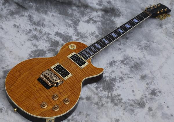 Guitare électrique personnalisée, Tremolo verrouillable, Guitare Naturelle, Body monobloc, Touche Ebondy, Haut Koa, Tiger Flamed, en stock, expédié