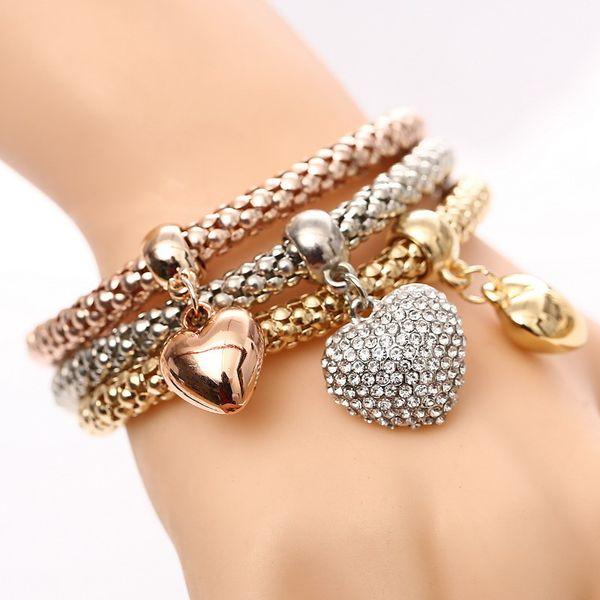 3 Pcs/Set Crystal Heart Charm Bracelet Gold/Silver Plated Love Heart Charms Rhinestone Bracelets For Women Jewelry