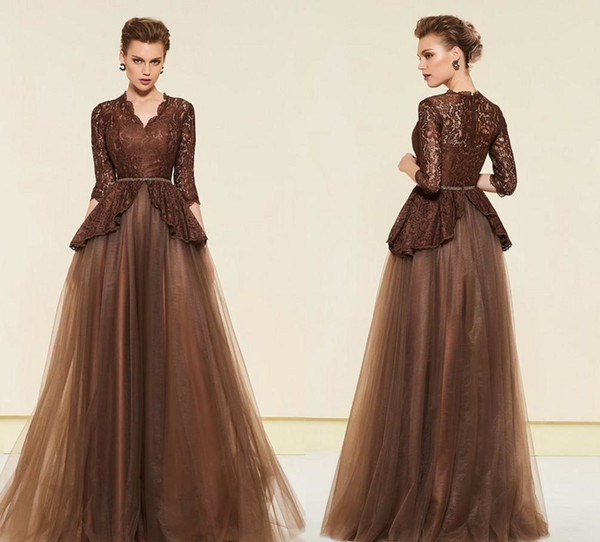 Elegant Brown 2019 Plus size Mother of the Bride Groom Dresses 34 Long Sleeves Lace Tulle Mother Lace Long Evening A-Line Dress