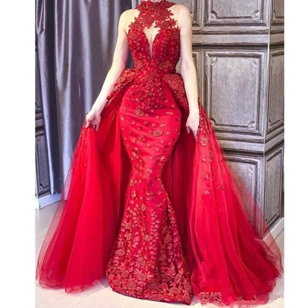 Gorgeous Red Mermaid Prom Dresses With Overskirts Lace Appliques High Neck Evening Gowns Sleeveless Floor Length Dubai Women Formal Wear