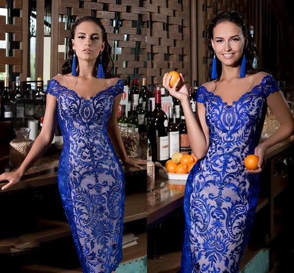 Royal Blue 2019 Mother Of The Bride Dresses V Neck Full Lace Cheap Formal Prom Gowns Appliqued Plus Size Wedding Guest Dresses