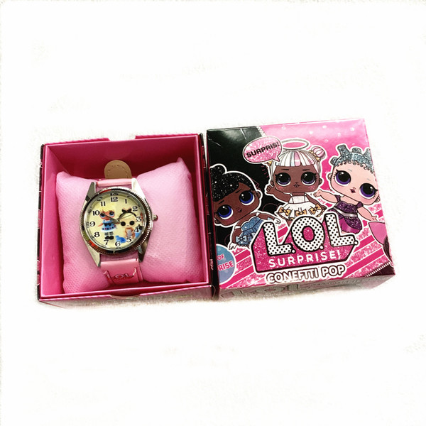 top popular dhl free 8-12style Children Wristwatch girls Cartoon doll leather Watches With Boxes Christmas Gifts zx03 2020