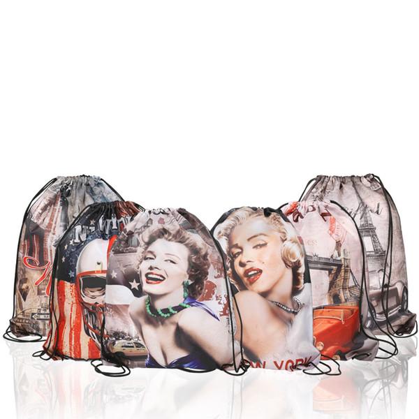 5 estilos Monroe Recebendo Saco cordão Pacote Bolsa de Ombro Grande Capacidade Receber Sacos De Praia Mochila de brinquedo À Prova D 'Água Receber Sacos FFA1981