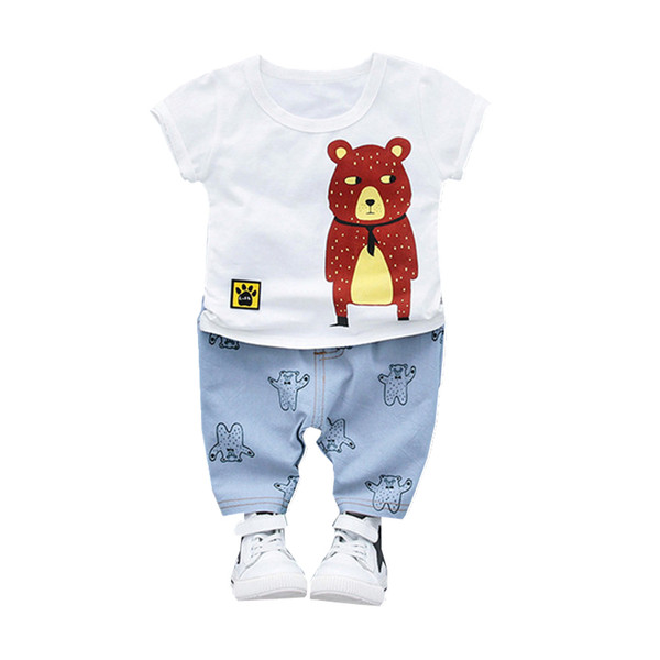 Summer Children Boy Girl Cotton Clothing Suits Baby Cartoon Bear T-shirt Shorts 2Pcs Sets Toddler Fashion Tracksuits Kid Clothes