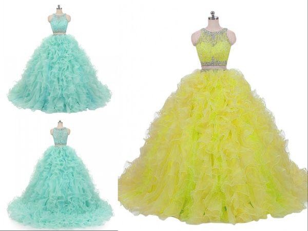 Chic Mint Two Pieces Quinceanera Prom dresses Lace Jewel Neck Crystal Ruffles Organza Long Custom Cheap Sweet 15 Dress Vastidos De Dress
