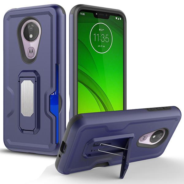 Pour Iphone 8 7 6 TPU PC titulaire de la carte de crédit aimant de voiture aspiration avec étui de protection béquille avec sac d'opp