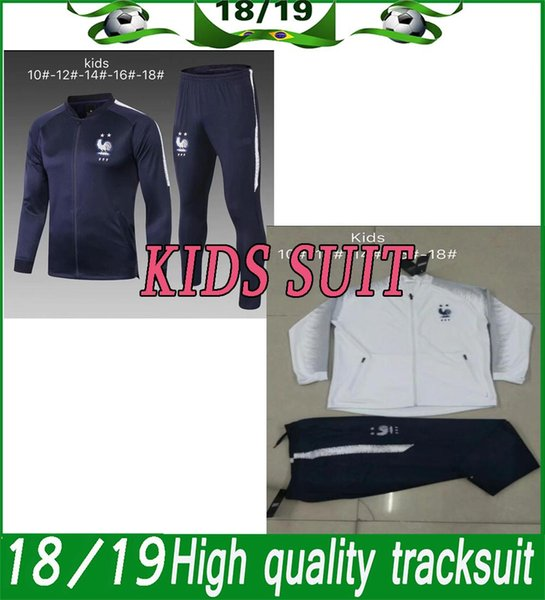 France jacket Long Sleeve Suit 18/19 France kids suit Soccer Jersey Training Uniform Football Franch kids Jacket+Pants