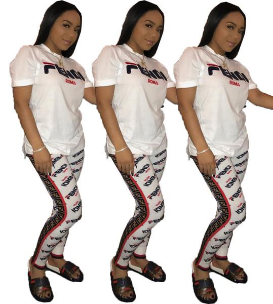 2019 F Mektup Baskı Kadın Iki Parçalı Şort Setleri Eşofman Kısa Kollu Üst + Pantolon 2 adet Pembe Kıyafetler Gece Kulübü Bayanlar Koşu Suits