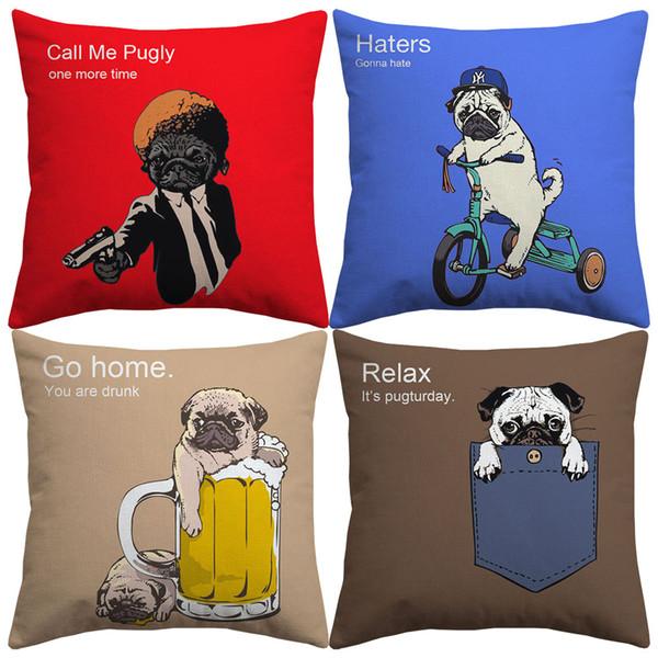 Commercio all'ingrosso Cartoon Pug Dog Call Me Pugly Birra Cane Mano Pittura Cuscino Lino Pillow Cases Camera Da Letto Divano Decorazione 45X45 cm