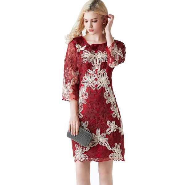 2019 Floral Lace Formal Bridesmaid Dress Evening Embroidered Retro Prom Party Elegant 3/4 Sleeve Midi Dresses