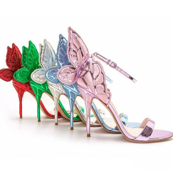 Fashion Women Angel Wing Sandals Gladiator Ankle Strap High Heels Embroidered Butterfly Pumps Bridal Wedding Shoes Party Sandles